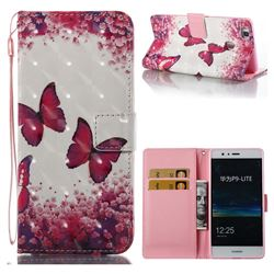 Rose Butterfly 3D Painted Leather Wallet Case for Huawei P9 Lite G9 Lite