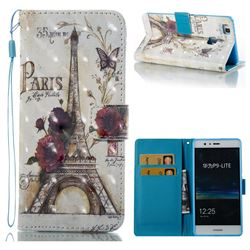 Flower Eiffel Tower 3D Painted Leather Wallet Case for Huawei P9 Lite G9 Lite