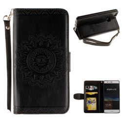 Embossed Datura Flower PU Leather Wallet Case for Huawei P9 Lite G9 Lite - Black