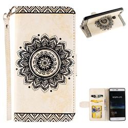 Embossed Datura Flower PU Leather Wallet Case for Huawei P9 Lite G9 Lite - White