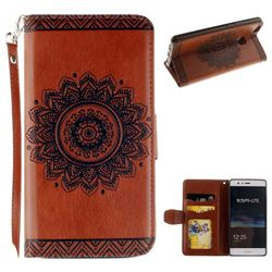 Embossed Datura Flower PU Leather Wallet Case for Huawei P9 Lite G9 Lite - Brown