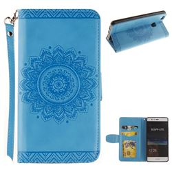Embossed Datura Flower PU Leather Wallet Case for Huawei P9 Lite G9 Lite - Blue
