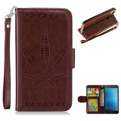Intricate Embossing Maple Leather Wallet Case for Huawei P9 Lite G9 Lite - Brown