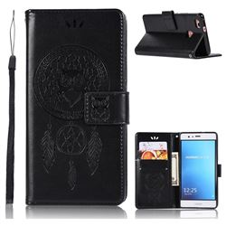 Intricate Embossing Owl Campanula Leather Wallet Case for Huawei P9 Lite G9 Lite - Black