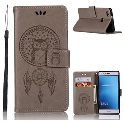 Intricate Embossing Owl Campanula Leather Wallet Case for Huawei P9 Lite G9 Lite - Grey