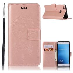 Intricate Embossing Owl Campanula Leather Wallet Case for Huawei P9 Lite G9 Lite - Rose Gold