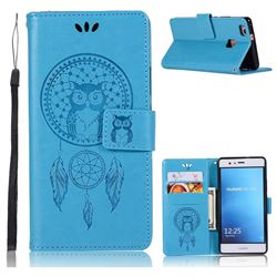 Intricate Embossing Owl Campanula Leather Wallet Case for Huawei P9 Lite G9 Lite - Blue