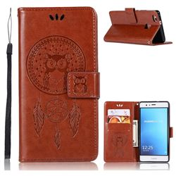 Intricate Embossing Owl Campanula Leather Wallet Case for Huawei P9 Lite G9 Lite - Brown