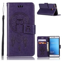 Intricate Embossing Owl Campanula Leather Wallet Case for Huawei P9 Lite G9 Lite - Purple
