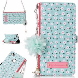 Daisy Endeavour Florid Pearl Flower Pendant Metal Strap PU Leather Wallet Case for Huawei P9 Lite G9 Lite