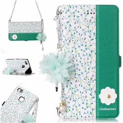 Magnolia Endeavour Florid Pearl Flower Pendant Metal Strap PU Leather Wallet Case for Huawei P9 Lite G9 Lite