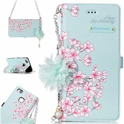 Cherry Blossoms Endeavour Florid Pearl Flower Pendant Metal Strap PU Leather Wallet Case for Huawei P9 Lite G9 Lite