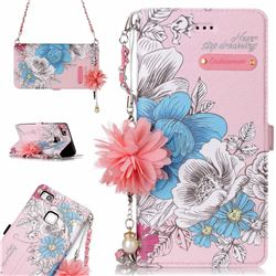 Pink Blue Rose Endeavour Florid Pearl Flower Pendant Metal Strap PU Leather Wallet Case for Huawei P9 Lite G9 Lite