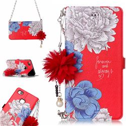 Red Chrysanthemum Endeavour Florid Pearl Flower Pendant Metal Strap PU Leather Wallet Case for Huawei P9 Lite G9 Lite