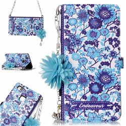 Blue-and-White Endeavour Florid Pearl Flower Pendant Metal Strap PU Leather Wallet Case for Huawei P9 Lite G9 Lite