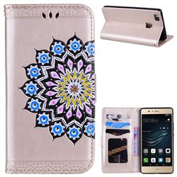 Datura Flowers Flash Powder Leather Wallet Holster Case for Huawei P9 Lite G9 Lite - Golden