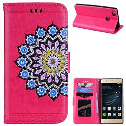 Datura Flowers Flash Powder Leather Wallet Holster Case for Huawei P9 Lite G9 Lite - Rose