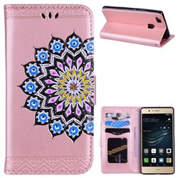 Datura Flowers Flash Powder Leather Wallet Holster Case for Huawei P9 Lite G9 Lite - Pink