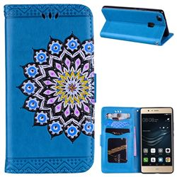 Datura Flowers Flash Powder Leather Wallet Holster Case for Huawei P9 Lite G9 Lite - Blue