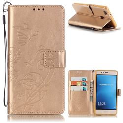 Embossing Butterfly Flower Leather Wallet Case for Huawei P9 Lite G9 Lite - Champagne