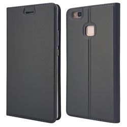 Ultra Slim Card Magnetic Automatic Suction Leather Wallet Case for Huawei P9 Lite G9 Lite - Star Grey