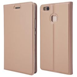 Ultra Slim Card Magnetic Automatic Suction Leather Wallet Case for Huawei P9 Lite G9 Lite - Rose Gold
