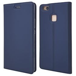 Ultra Slim Card Magnetic Automatic Suction Leather Wallet Case for Huawei P9 Lite G9 Lite - Royal Blue