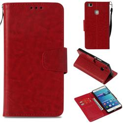 Retro Phantom Smooth PU Leather Wallet Holster Case for Huawei P9 Lite G9 Lite - Red