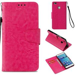 Retro Phantom Smooth PU Leather Wallet Holster Case for Huawei P9 Lite G9 Lite - Rose