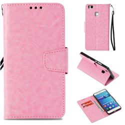 Retro Phantom Smooth PU Leather Wallet Holster Case for Huawei P9 Lite G9 Lite - Pink