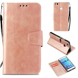 Retro Phantom Smooth PU Leather Wallet Holster Case for Huawei P9 Lite G9 Lite - Rose Gold