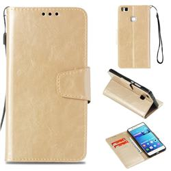 Retro Phantom Smooth PU Leather Wallet Holster Case for Huawei P9 Lite G9 Lite - Champagne