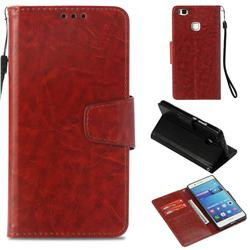 Retro Phantom Smooth PU Leather Wallet Holster Case for Huawei P9 Lite G9 Lite - Brown