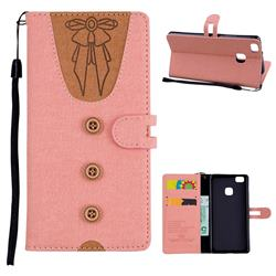 Ladies Bow Clothes Pattern Leather Wallet Phone Case for Huawei P9 Lite G9 Lite - Pink