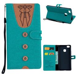 Ladies Bow Clothes Pattern Leather Wallet Phone Case for Huawei P9 Lite G9 Lite - Green