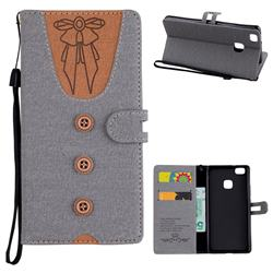 Ladies Bow Clothes Pattern Leather Wallet Phone Case for Huawei P9 Lite G9 Lite - Gray
