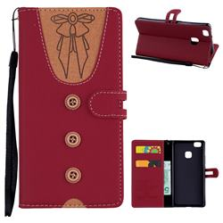 Ladies Bow Clothes Pattern Leather Wallet Phone Case for Huawei P9 Lite G9 Lite - Red