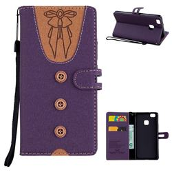 Ladies Bow Clothes Pattern Leather Wallet Phone Case for Huawei P9 Lite G9 Lite - Purple