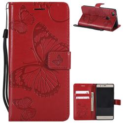 Embossing 3D Butterfly Leather Wallet Case for Huawei P9 Lite G9 Lite - Red