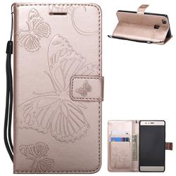 Embossing 3D Butterfly Leather Wallet Case for Huawei P9 Lite G9 Lite - Rose Gold