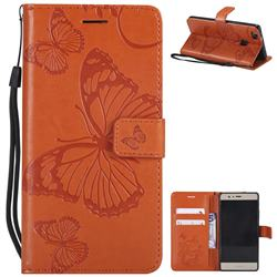 Embossing 3D Butterfly Leather Wallet Case for Huawei P9 Lite G9 Lite - Orange