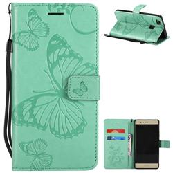 Embossing 3D Butterfly Leather Wallet Case for Huawei P9 Lite G9 Lite - Green