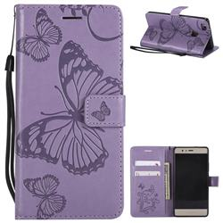 Embossing 3D Butterfly Leather Wallet Case for Huawei P9 Lite G9 Lite - Purple