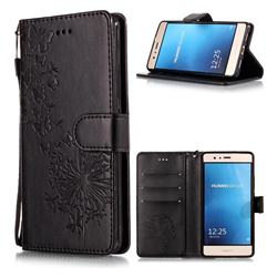 Intricate Embossing Dandelion Butterfly Leather Wallet Case for Huawei P9 Lite G9 Lite - Black
