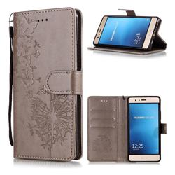 Intricate Embossing Dandelion Butterfly Leather Wallet Case for Huawei P9 Lite G9 Lite - Gray
