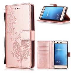 Intricate Embossing Dandelion Butterfly Leather Wallet Case for Huawei P9 Lite G9 Lite - Rose Gold