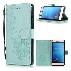 Intricate Embossing Dandelion Butterfly Leather Wallet Case for Huawei P9 Lite G9 Lite - Green