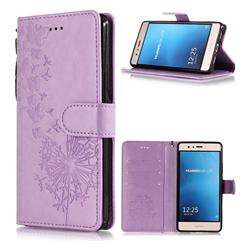 Intricate Embossing Dandelion Butterfly Leather Wallet Case for Huawei P9 Lite G9 Lite - Purple
