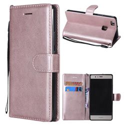 Retro Greek Classic Smooth PU Leather Wallet Phone Case for Huawei P9 Lite G9 Lite - Rose Gold