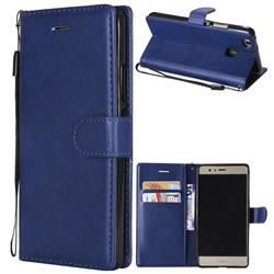 Retro Greek Classic Smooth PU Leather Wallet Phone Case for Huawei P9 Lite G9 Lite - Blue